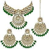 I Jewels Traditional Gold Plated Kundan Pearl Choker Necklace Set Earrings & Maang Tikka for Women (IJ331G)
