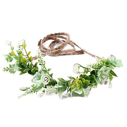 Tieback Flower Crown Flower Headband Baby Girl Toddler Woodland Green Leaf Floral Crown Wreath (Leaf Crown)