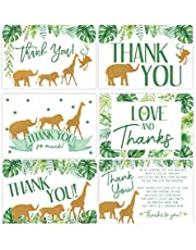 50 Jungle Baby Shower Thank You Cards, Boy Baby, Mama Baby Shower Favor and Games, 50 Thank You Cards and Envelopes