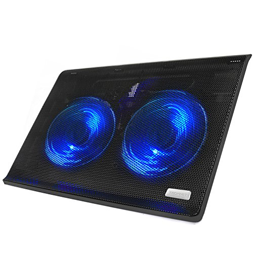 Laptop Cooling Pad, TeckNet USB Powered Ultra-Slim Quiet Laptop Notebook Cooler Cooling Pad with 2 Blue LED, 2 Large Fans, Fits 12 -15.6 Inches