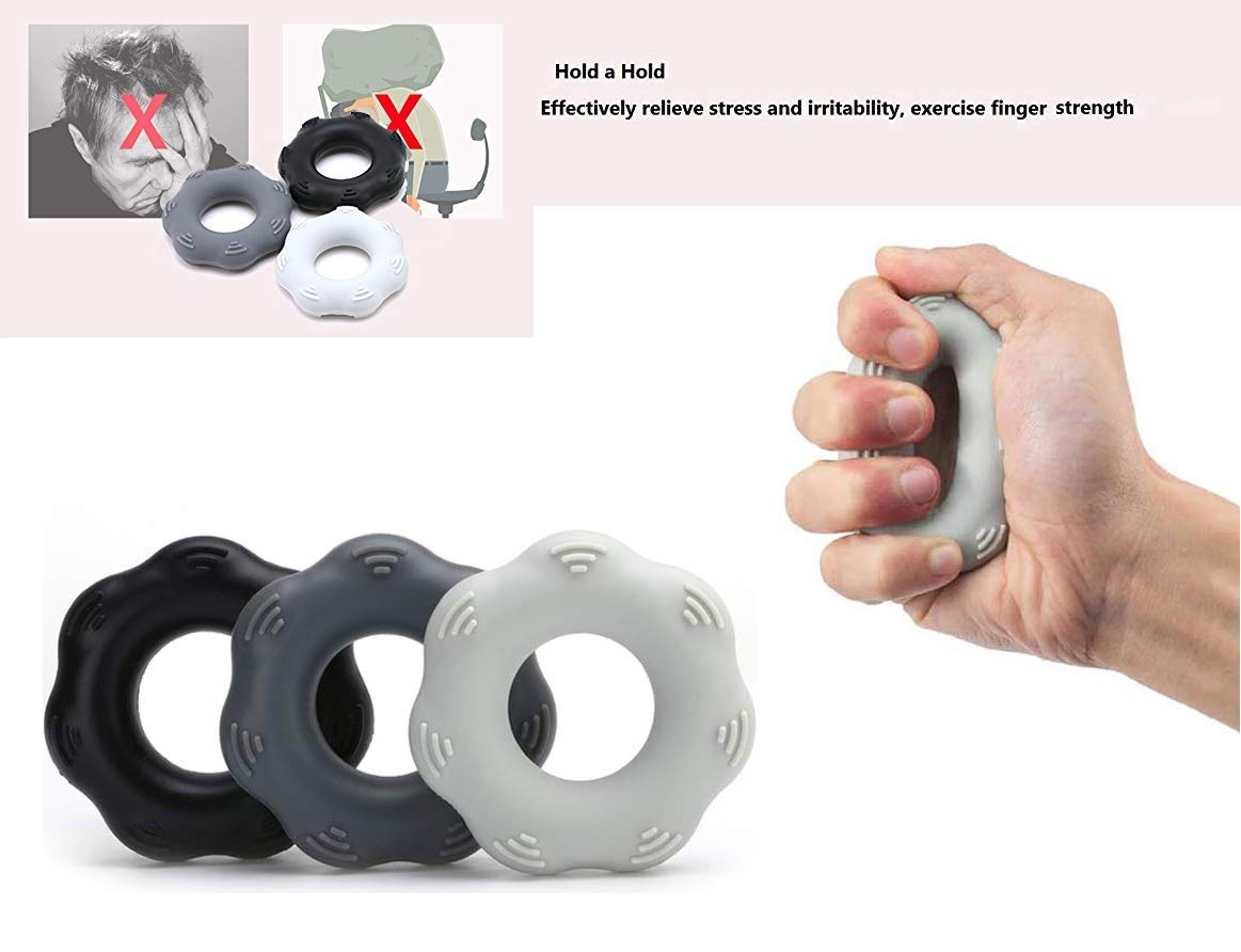 SANDAO Hand Grip Ring Muscle Power Training, Finger Stretcher, Grip Strength Trainer Ring,Hand Exercisers - Silicone Rings Hand Strengthening Rings Set (3 PCS) (Pattern Gray 30-50lbs)