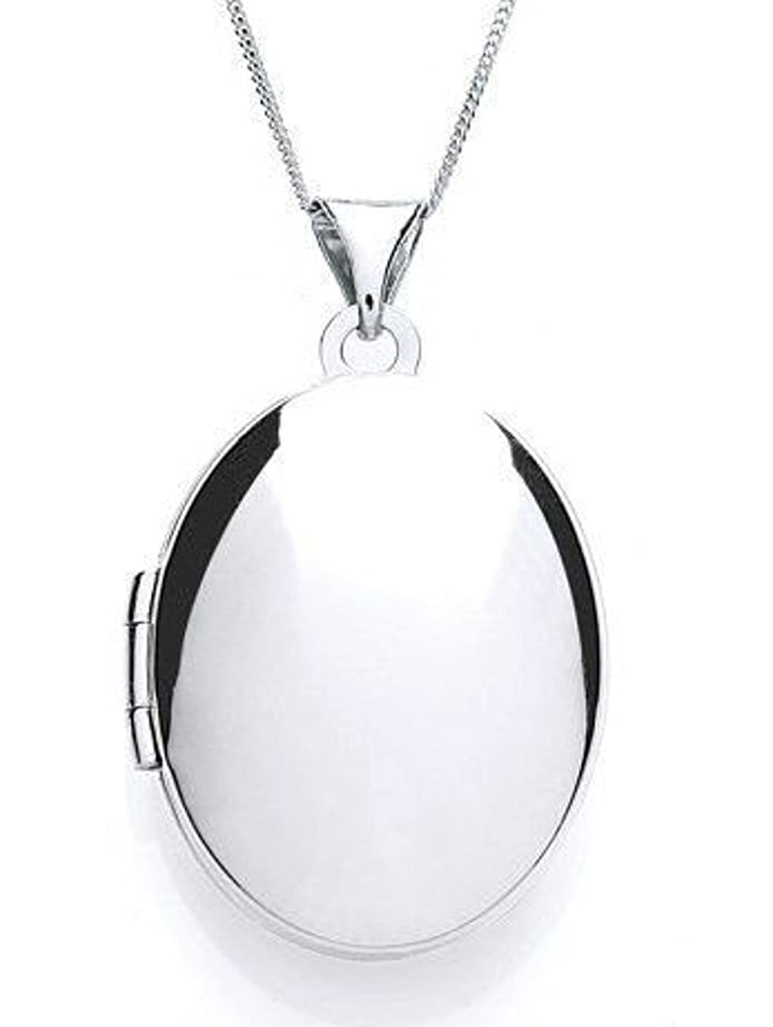 Plain sterling silver oval locket pendant with 18 chain jewellery plain sterling silver oval locket pendant with 18 chain jewellery gift box amazon jewellery aloadofball Images