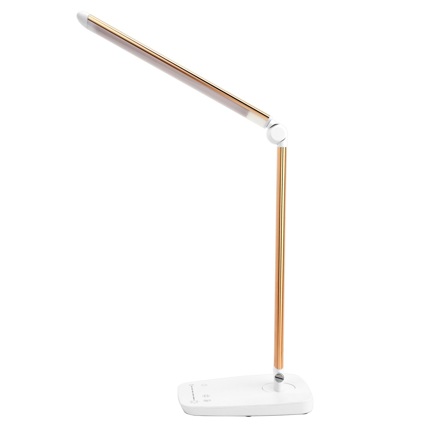 Dimmable LED Desk Lamp with USB Charging Port, Lichamp Touch Control Foldable Gooseneck Free Rotation Adjustable Eye Care Table Lamp, Bedside Reading Light with UL AC Adapter (Gold)