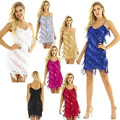 CHICTRY Women's Spaghetti Straps Tassels Sequin Flapper Dress Gatsby Party Dress Dancewear