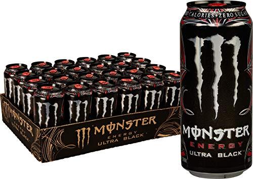 Monster Energy Ultra Black, Sugar Free Energy Drink, 16 Ounce