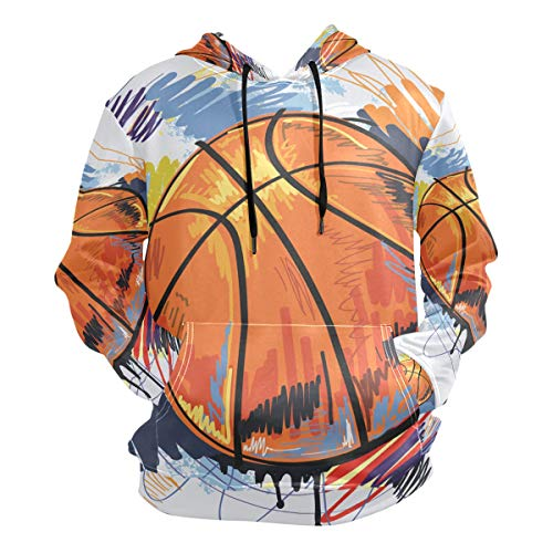 Watercolor Basketball Hoodie Hooded Athletic Sweatshirts 3D Print for Girls Boys Men(Health Fabric)