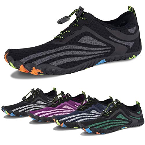 Water Shoes for Men and Women Barefoot Quick-Dry Aqua Sock Outdoor Athletic Sport Shoes for Kayaking, Boating, Hiking, Surfing, Walking (C-Black/Gray, 47) (Water Shoes 15)