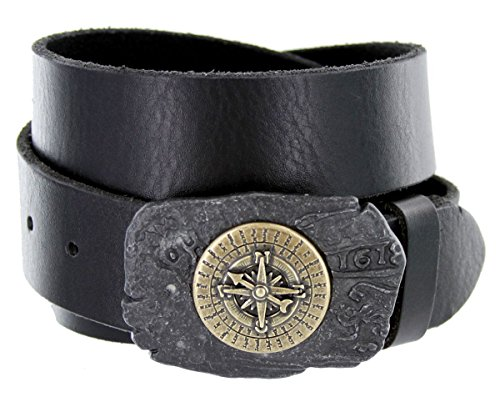 Antique Brass Rustic Pirate Nautical Sailor Compass Belt for Men (Black, 42) -