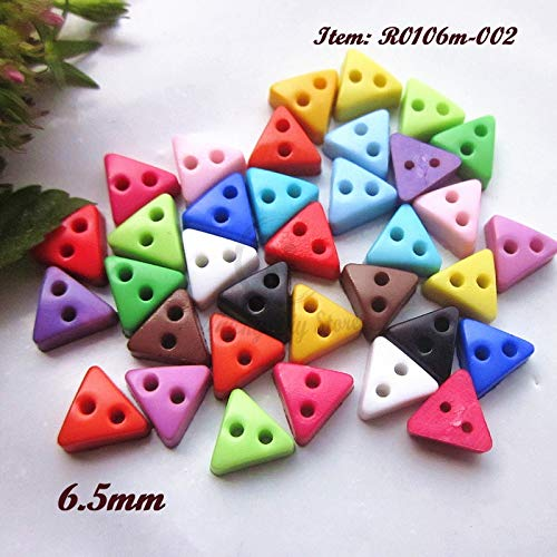Pukido Mini buttons 144pcs 6.5mm triangles tiny doll buttons resin small buttons for crafts and scrapbook sewing decorative accessories - (Color: 04 Orange)