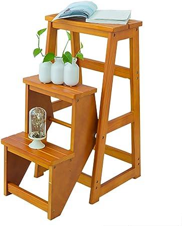 reposapiés plegable paso plegable retráctil 3 Pasos, Escalera plegable de madera maciza Escalera de taburete, Escalera de madera de interior para adultos Estantes de plantas Estantes de jardín Herra: Amazon.es: Hogar
