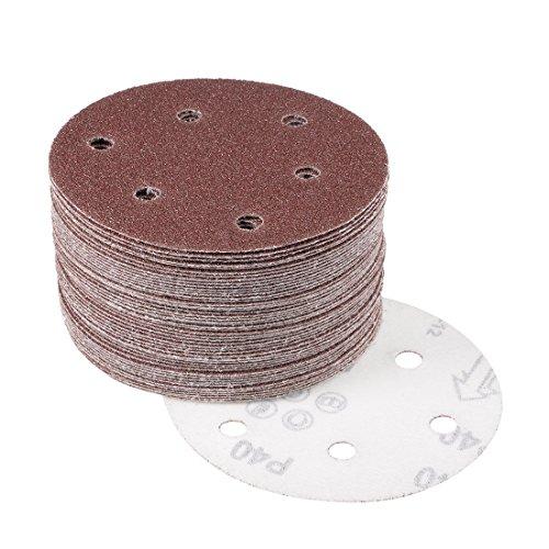 uxcell 50Pcs 5 Inch 6 Hole Hook and Loop Sanding Disc 40 Grit Flocking Sandpaper for Random Orbit Sander