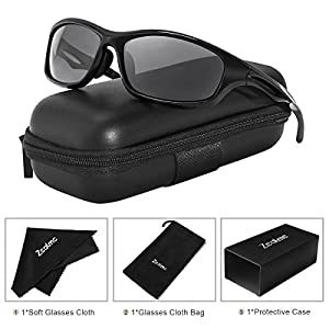 Zealme Polarized Sports Lightweight Durable Unbreakable Frame Anti Glare Baseball Cycling Fishing Golf Running Bicycle Motorcycle Hiking Sunglasses 607 (Black)