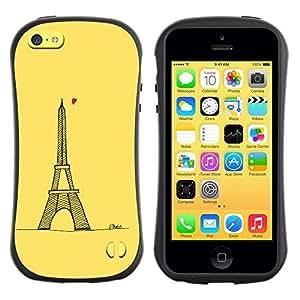 "Hypernova Slim Fit Dual Barniz Protector Caso Case Funda Para Apple iPhone 5C [Corazón amarillo del amor París Torre Eifel tour""]"