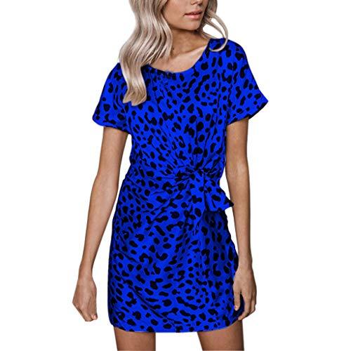 HI, Londony ❤↪❤ Women's Leopard Prints Lantern Sleeve Short Sleeve Wear to Work Casual Pencil Dress with Belt Blue
