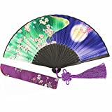 Wise Bird Chinese Japanese Folding Hand Fan for women, Summer Cooling Accessories Vintage Retro Style 8'' Bamboo Wood Silk Pocket Purse Fan for Wedding Dancing Home Wall Decor with Pouches/tassel-f141