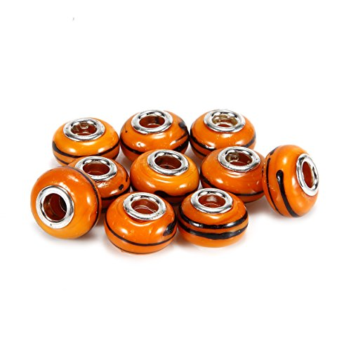 BRCbeads Top Quality 10Pcs Silver Plate Orange Color Style #2 Murano Lampwork European Glass Crystal Charm Beads Spacers Fit Troll Chamilia Carlo Biagi Zable Snake Chain Charm Bracelets.