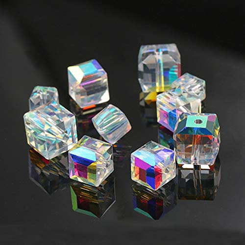 Calvas AAA Quality 8-12MM Crystal AB Square Shape Crystal Box Beads Cube Beads Loose Spacer Beads for Necklace Earring Jewelry Making - (Item Diameter: 12mm-20pcs) (Square 18mm Letters Crystal)