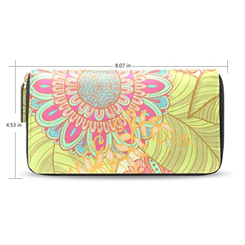 LEEZONE Femal Micro Fiber Leather Wallet DIY with Hand-Painted Flowers Printing Purse