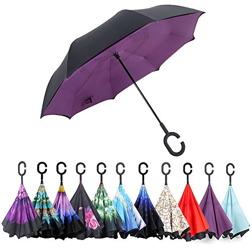 Inverted Strawberry (Hemoo Double Layer Inverted Umbrella Reverse Umbrella 42.5'' Canopy Windproof With Hand Free C-Shaped Handle (Purple))
