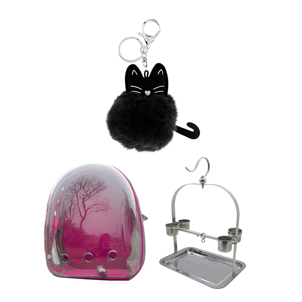 DYNWAVE Transparent Pet Space Capsule Carrier Backpack Bird Parred Outdoor Perch with Feeding Cups pink Red