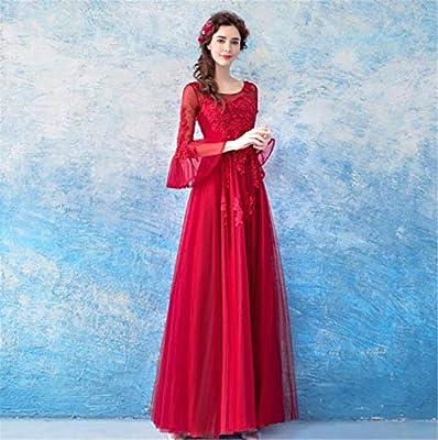 Lyjfsz 7 Robe De Mariee Noble Robe Rouge En Tulle Avec Des Manches Dentelle Brodee Avec Des Perles Robe De Banquet Amazon Fr Sports Et Loisirs