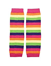 Stripes Rainbow Kneepad Socks Leg Warmer Cotton Leggings for Kids Girls