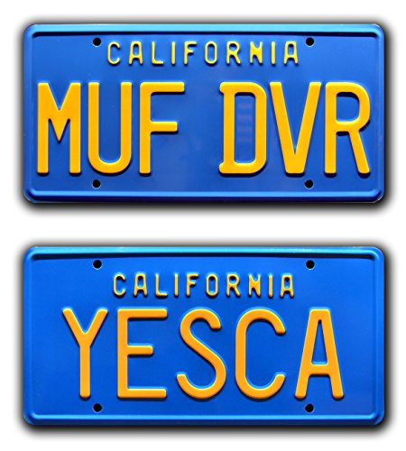 Celebrity Machines Cheech & Chong's Up in Smoke | MUF DVR + YESCA | Metal Stamped Vanity Prop License Plate Combo