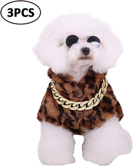 FLAdorepet - Disfraz para Perro de Estilo Hiphop con Cadena para ...