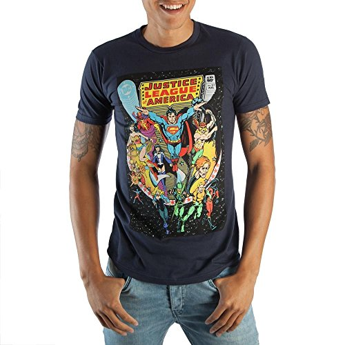 Justice League Comic Cover Boxed Black Tee Shirt, Blue, X-Large