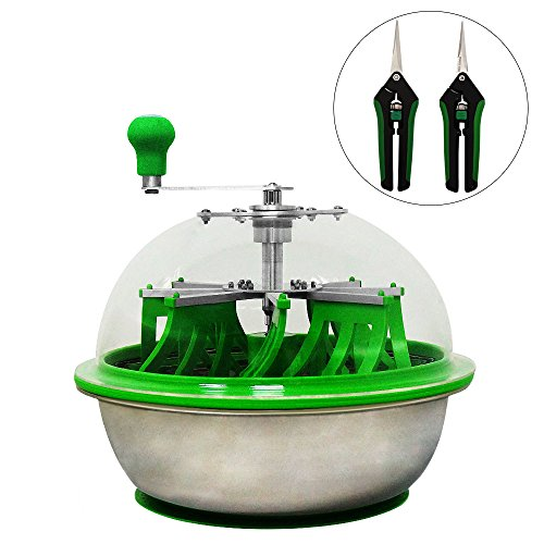 16inch Hydroponic Bowl Leaf Trimmer Hand Twisted Bud trimmer Spin Cut Hush with Silicon Leaf(Clear lid) (16in trimmer) by Tenwell