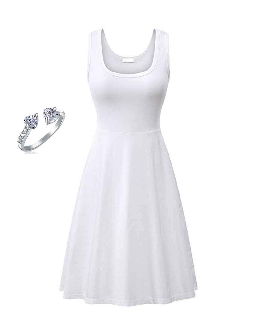 Yoofashion Women's Casual Dress T Shirt Solid Summer Sleevelss Plain Short Cotton White Black Blue Dress