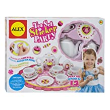 ALEX Toys - Children's 13 Piece Tea Set Party with Over 100 Decorate Yourself Stickers