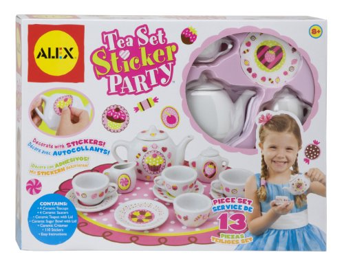 ALEX Toys Craft 13 Piece Tea Set Party with Over 100 Stickers (Alex Tea)