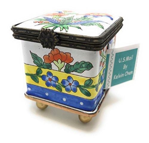 Kelvin Chen Enameled Postage Stamp Holder - Floral 1.75' Square