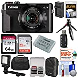 Cheap Canon PowerShot G7 X Mark II Wi-Fi Digital Camera Video Creator Kit + Canon Battery + Manfrotto Tripod, 32GB & 64GB Card + Case + Light + Charger Kit