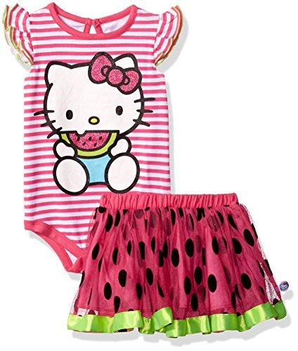 Hello Kitty Skirt (Hello Kitty Baby Girls' 2 Pc Tutu Skirt Set, Red, 24M)