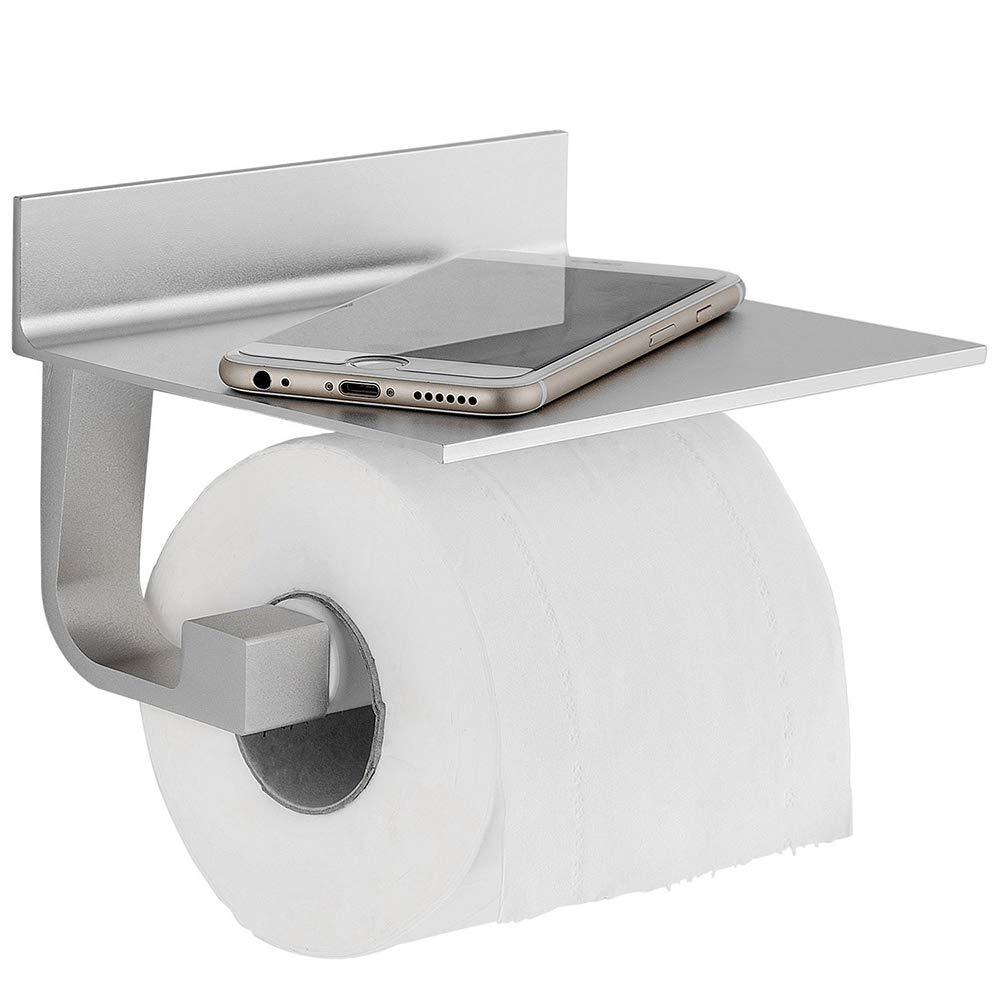 TRUSTLIFE Toilet Paper Roll With Holder Bathroom Tissue Holder Mobile Phone Storage Shelf Rack Aluminum,Silver