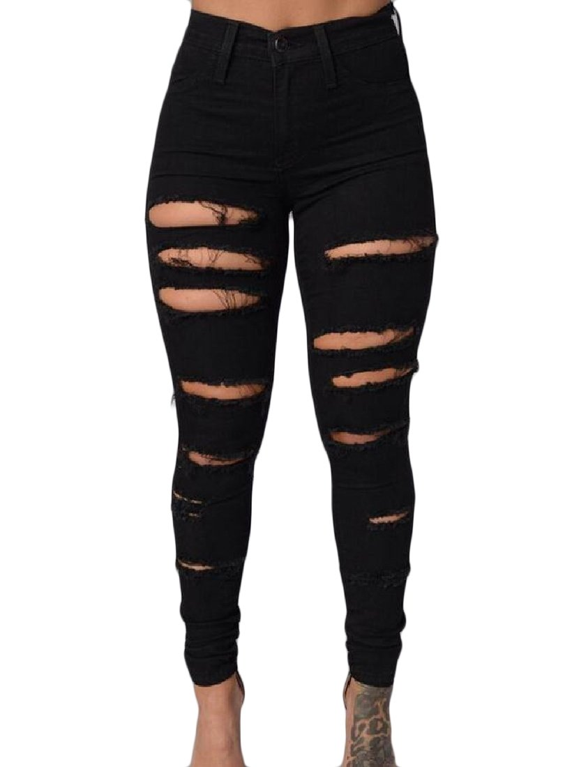 Tootless-Women Stretchable Tights Capris Sexy Ripped Holes Highwaist Ankle Jeans Black L