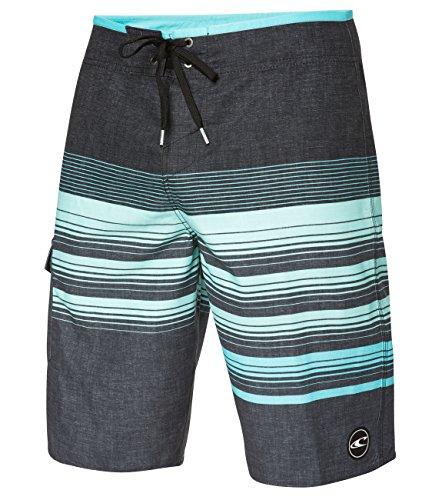 O'Neill Men's Catalina Stripe Boardshorts, Asphalt Aqua, Size 34