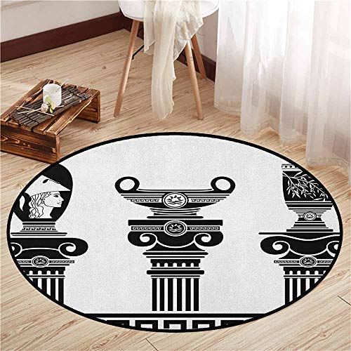 Non-Slip Round Rugs,Toga Party,Set of Hellenic Vases and Ionic Columns Artistic Design Amphora Antiquity,Ideal Gift for Children,3'7