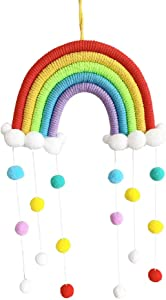 TheFamShop Macrame Rainbow Wall Hanging for Nursery, Dorm Room, Baby Shower, Classroom, Girls Room, Baby Room, Baby Shower, Birthday Party, Wedding, Boho Pom Pom Garland Home Décor (Style #3)