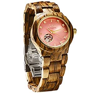 JORD Wooden Watches for Women - Cora Series Skeleton Automatic / Wood Watch Band / Wood Bezel / Self Winding Movement - Includes Wood Watch Box (Zebrawood & Rose)