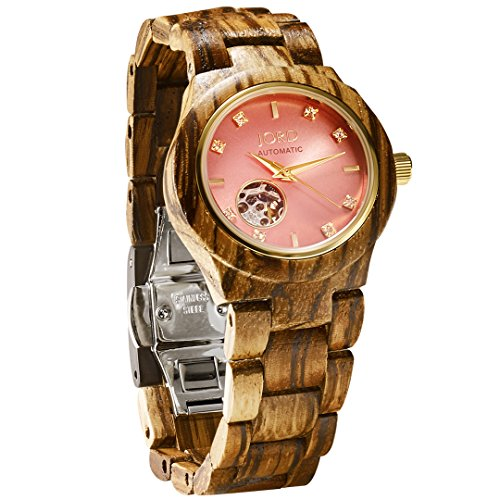 JORD Wooden Watches for Women - Cora Series Skeleton Automatic/Wood Watch Band/Wood Bezel/Self Winding Movement - Includes Wood Watch Box (Zebrawood & Rose)