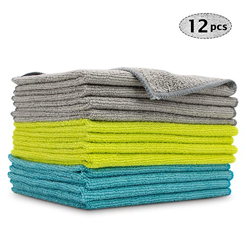 AIDEA Microfiber Cleaning Cloths, Detailing Cloth Scratch-Free, Strong Water Absorption Drying Towel for Cars, SUVs, RVs, Trucks, and Boats, (12in.x16in.)-12PK