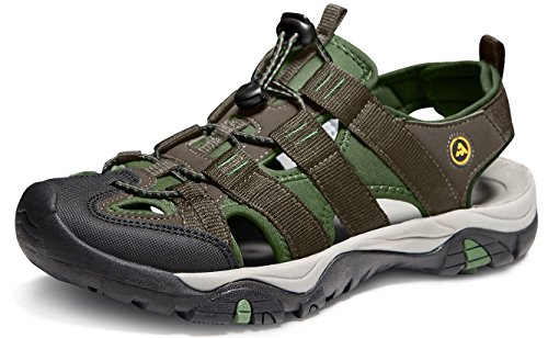 ATIKA Men's Sports Sandals Trail Outdoor Water Shoes 3Layer Toecap, All Terrain Orbital(m107) - Green, 13