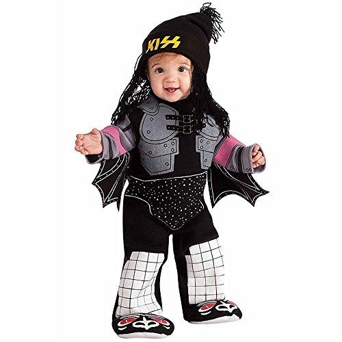 Star 80s Glam Rock (Kiss The Demon Ez-On Romper Costume, Black, Infant)