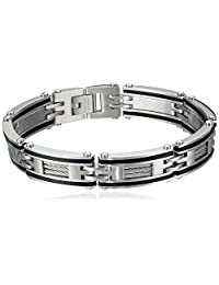 Men's Stainless Steel Cable and Rubber Bracelet with Black Plating