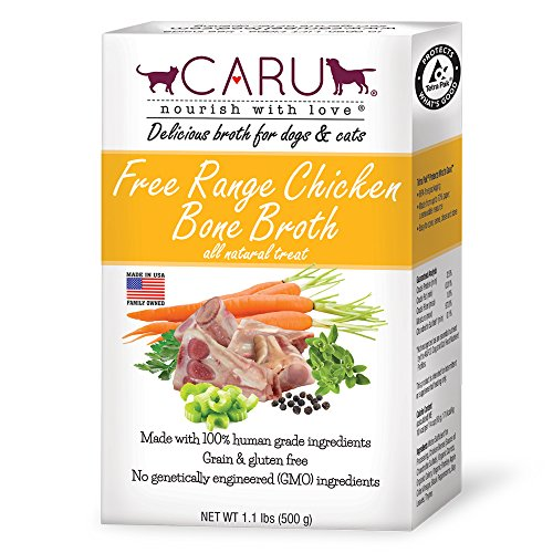 Caru Free Range Chicken Bone Broth For Dogs And Cats, Moistens Dry Food Or Pour Over Freeze Dried Raw Food, Grain And Gluten Free, Non-Gmo Ingredients (1.1 Lbs)