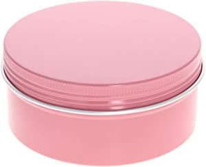 Othmro 5 oz Round Aluminum Cans Tin Can Screw Top Metal Lid Containers for Lip Balm, Crafts, Cosmetic, Candles, Candies, pink 150ml 6pcs