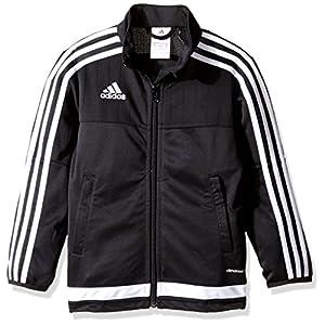 adidas Youth Soccer Tiro 15 Training Jacket, Black/White/Black, Large